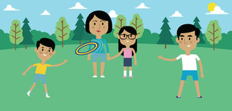 Illustration Of Family Playing With Frisbee In Park Together royalty free illustration