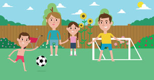 Illustration Of Family Playing Soccer In Garden Together royalty free illustration