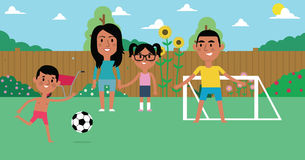 Illustration Of Family Playing Soccer In Garden Together vector illustration