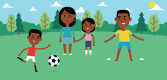 Illustration Of Family Playing Soccer In Park Together Stock Images