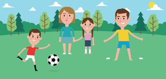 Illustration Of Family Playing Soccer In Park Together vector illustration
