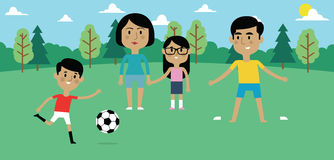 Illustration Of Family Playing Soccer In Park Together stock illustration