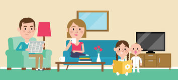 Illustration Of Family Relaxing At Home Together stock illustration