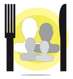 Illustration of family restaurant Stock Photos