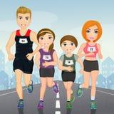 Illustration of family runs. To marathon Stock Image