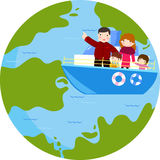 Illustration of a Family Traveling by Ship Stock Photography