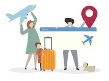 Illustration of family travelling together Stock Image