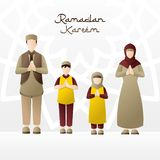 Illustration of a family welcoming the month of Ramadan. Happiness family in the month of Ramadan. Congratulations on fasting - Vector illustration stock illustration