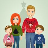 Family with wool sweaters for Christmas Stock Images