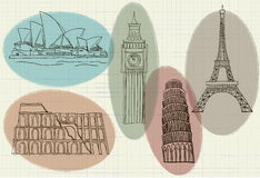 Illustration of famous buildings in the world Royalty Free Stock Photography