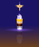The illustration of the famous cocktail B-52. Flaming cocktail B-52 and its logo on a dark background Royalty Free Stock Images
