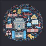 Illustration with famous Madrid cultural places. Hand drawn illustration with famous Madrid cultural places such as museums, galleries, monuments, painters vector illustration