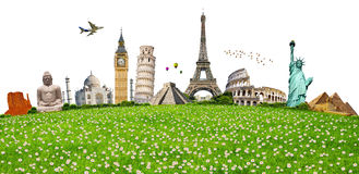 Illustration of famous monument on green grass Royalty Free Stock Image