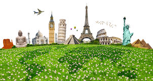 Illustration of famous monument on green grass Royalty Free Stock Photography