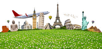 Illustration of famous monument on green grass Royalty Free Stock Images