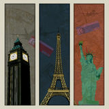 Illustration of famous monument in travel collage Stock Photo