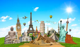 Illustration of famous monument of the world. Famous monuments of the world grouped together Royalty Free Stock Images