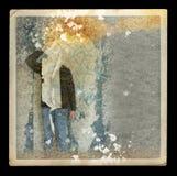 Illustration fanée de figure fantomatique dans la maison abandonnée Images libres de droits