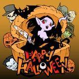 Illustration fantasmagorique et drôle de bande dessinée avec une fille assez mauvaise de vampire Elle se cache dans un potiron én illustration libre de droits