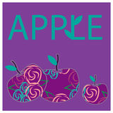 Illustration with fantastic apples on the lilac background Royalty Free Stock Photography