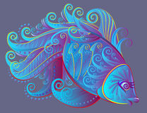 Illustration of fantastic fairyland fish. Stock Images