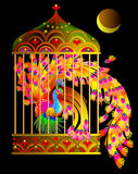 Illustration of fantastic firebird sitting in a gold cage from fairyland. Vector image. Scale to any size without loss of resolution Royalty Free Stock Photos