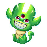 Illustration: The Fantastic Forest Green Skin Monster Boy  on White Background. Royalty Free Stock Images