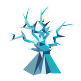 Illustration of fantastic poligonal tree. Illustration of fantastic tree. Polygon style. Series of icy creatures. Can be used in printing: card, t-shirt, phone Stock Photography