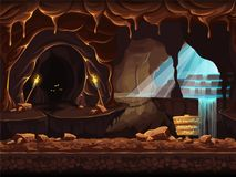 Illustration fantasy cave with a sign and stones royalty free illustration