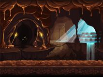 Illustration fantasy cave with a waterfall Royalty Free Stock Image
