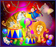 Illustration of fantasy circus performance with animals and merry clown for colorful poster. Stock Images