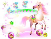 Illustration of fantasy horse running at the circus. Royalty Free Stock Photo