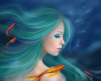 Illustration fantasy sea mermaid with red fishes Royalty Free Stock Images