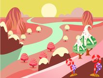 illustration of fantasy sweet food land Royalty Free Stock Photo