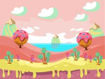 Illustration of fantasy sweet food land. Cartoon fairy tale landscape. Candy land illustration for game background Royalty Free Stock Images