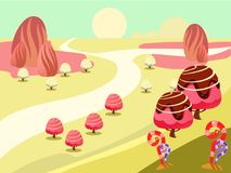Illustration of fantasy sweet food land. Cartoon fairy tale landscape. Candy land illustration for game background Stock Images