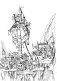 Illustration of fantasy town with castle on flying rock. Royalty Free Stock Images