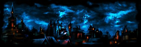 Medieval night town banner vector illustration