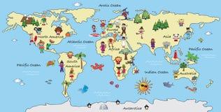 World map illustration. Illustration of a fantasy world map cartoon stock illustration