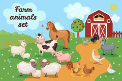 Illustration with farm animals and birds. Farm animals and birds with barn house. Vector illustration. Agriculture concept. Cute cartoon animals on meadow grass Royalty Free Stock Images