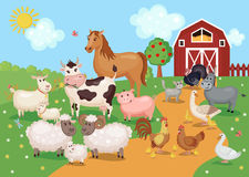 Illustration with farm animals and birds. Farm animals and birds with barn house. Vector illustration. Agriculture concept. Cute cartoon animals on meadow grass Royalty Free Stock Photography