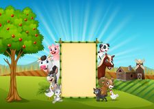 Farm animals with a blank sign bamboo tied in hills. Illustration of Farm animals with a blank bamboo tied in hills stock illustration