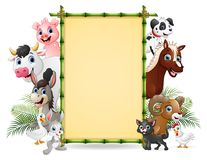 Farm animals with a blank sign bamboo tied. Illustration of Farm animals with a blank sign bamboo tied vector illustration