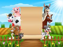 Farm animals with a blank sign paper. Illustration of Farm animals with a blank sign paper Royalty Free Stock Photos
