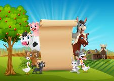 Farm animals with a blank sign roll up in hills. Illustration of Farm animals with a blank sign roll up hills vector illustration