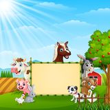 Farm animals with a blank sign tied bamboo. Illustration of Farm animals with a blank sign tied bamboo Royalty Free Stock Photos