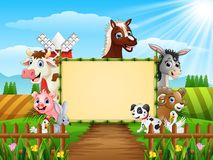 Farm animals with a blank sign tied bamboo. Illustration of Farm animals with a blank sign tied bamboo vector illustration