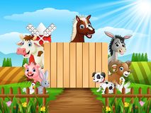 Farm animals with a blank sign wood. Illustration of Farm animals with a blank sign wood Stock Photos