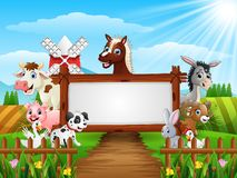 Farm animals with a blank sign wood tied. Illustration of Farm animals with a blank sign wood tied Stock Images