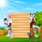 Farm animals with a blank sign wood. Illustration of Farm animals with a blank wood vector illustration